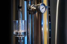 Pressure Gauge Of A Beer Plant Brewery, Close-up