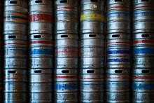Steel Beer Barrels Wall Background Texture, Close-up