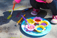 Sidewalk Paint Preparation And Use In A Daycare/home School Setting. Fun Childhood STEM And Art Activity. Messy Fun. Science.