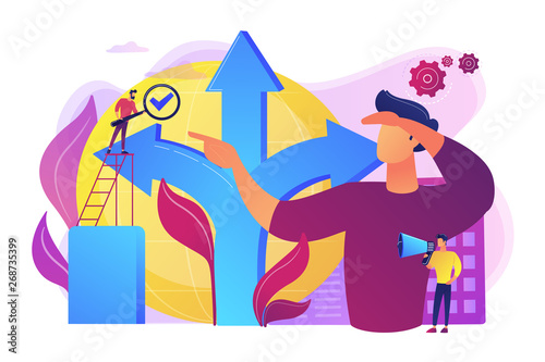 Career opportunity. Life coaching, self development. Path, direction choosing. Decision making, problem solving activity, best decision here concept. Bright vibrant violet vector isolated illustration - 268735399