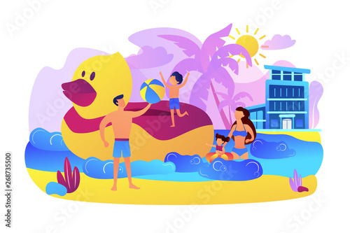 Foto auf Leinwand Texturen Parents, children swimming. Kids sunbathing near sea resort, hotel. Family vacations, all ages vacation, fantastic family adventure concept. Bright vibrant violet vector isolated illustration