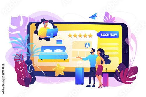 Room reservation online customer support, consultation. Virtual reception office. Internet booking, accommodation search helpline chat concept. Bright vibrant violet vector isolated illustration