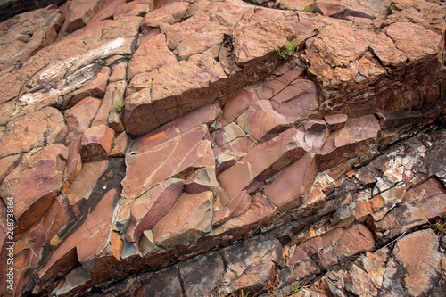 Large Rocks with Striations and Grooves on the Shore Path Bar Harbor Maine Unique rocks with interesting and intricate textures Canvas-taulu