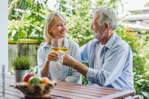 Senior couple enjoy drinking and clinking glass of wine to relax at home, senior Fototapeta