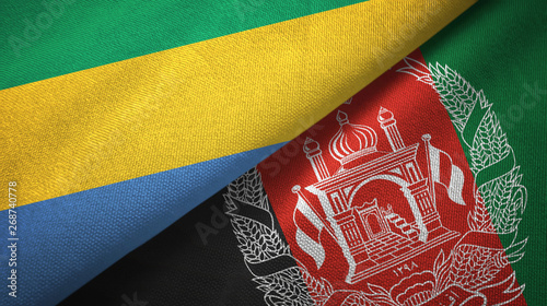 Fotografie, Obraz  Gabon and Afghanistan two flags textile cloth, fabric texture