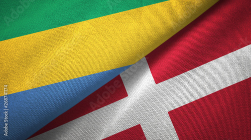 Fotografie, Obraz  Gabon and Denmark two flags textile cloth, fabric texture