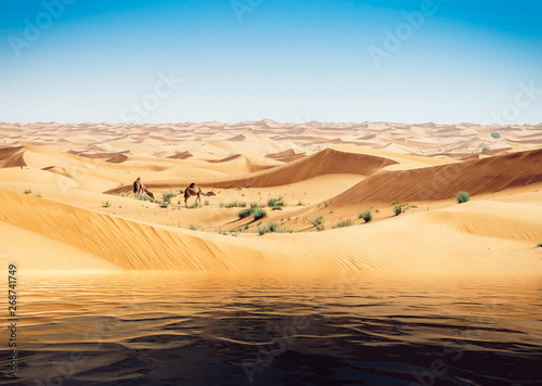 Fotoposter Abu Dhabi Mirage of the water in the Arabian desert. Camels in background