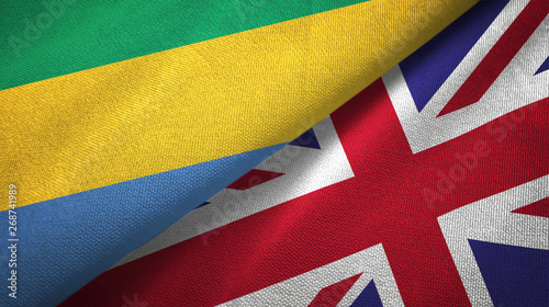 Fotografie, Obraz  Gabon and United Kingdom two flags textile cloth, fabric texture