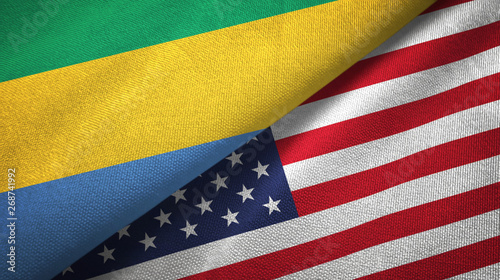 Fotografie, Obraz  Gabon and United States two flags textile cloth, fabric texture