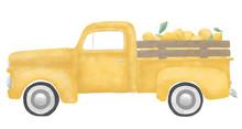 Yellow Vintage Farmer's Truck With Lemons