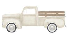 Old Vintage Gray Cream Farm Truck
