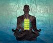 Leinwandbild Motiv Businessman in with battery icon. Full battery concept. Business and life energy. High full level energy battery. Man sit in meditation pose.