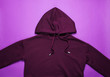 canvas print picture - Fashionable hoody on a purple background. Top view
