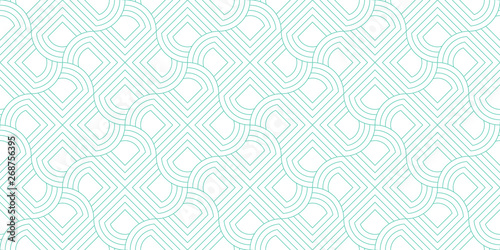 Fototapeten Künstlich Line geometric abstract pattern seamless green line on white background.