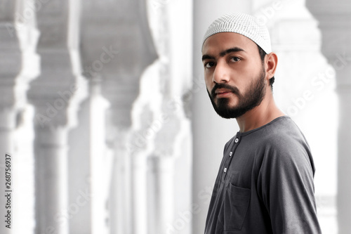 Portrait of asian muslim man Wallpaper Mural