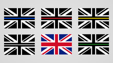 Union Jack Flag Of The United Kingdom And Thin Line Flags.