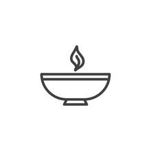Burning Bowl Oil Lamp Line Icon. Linear Style Sign For Mobile Concept And Web Design. Diwali, Celebration Outline Vector Icon. Symbol, Logo Illustration. Vector Graphics