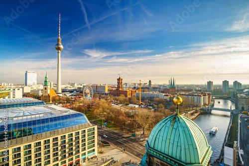 Obraz na plátně  Aerial view on Alexanderplatz and Spree river, Berlin, Germany