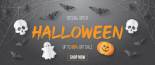 Happy Halloween Sale Vector Banner. Paper Cut Style. Vector Illusration