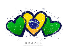 Brazilian Flag In The Form Of Three Hearts. Vector Illustration