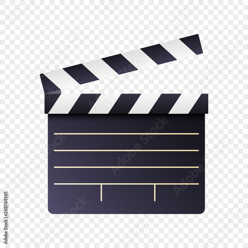 Photo Realistic movie and film clapperboard icon on white transparent background