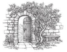 Hand Drawn Black And White Illustration, Old Garden Gate, Stone Wall And Bench.