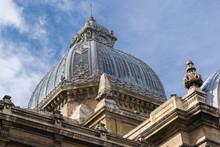 "Bucharest, Romania - March 16, 2019: Close Up Detail Of Dome Of The Building Of ""Casa De Depuneri, Consemnatiuni Si Economii"" Also Known As CEC Palace."