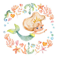 Mermaid Watercolor Surrounded ...