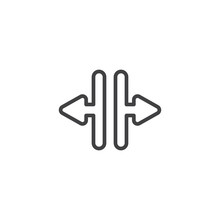 Elevator Door Open Arrows Line Icon. Linear Style Sign For Mobile Concept And Web Design. Left And Right Arrows Outline Vector Icon. Symbol, Logo Illustration. Vector Graphics