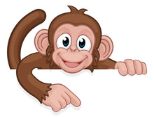A Monkey Cartoon Character Animal Peeking Over A Sign And Pointing At It