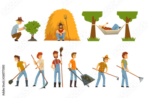 Slika na platnu Farmers set, farm workers with gardening tools, gardeners at work vector Illustr