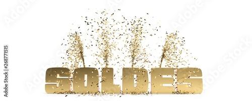 Fototapeta mot solde doré sur fond blanc avec confettis