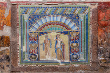 Herculaneum, Italy. 04-24-2019. Mosaic At Herculaneum Ancient Roman City In Italy