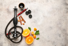 Parts Of Hookah And Fruits On Light Background