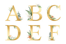 Golden Vector Glitter Alphabet With Watercolor Flowers.