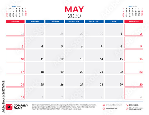 Calendar May 2020.May 2020 Calendar Planner Stationery Design Template Vector