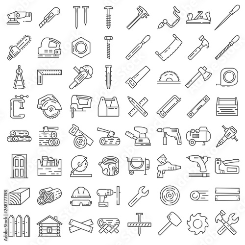 Carpentry industry equipment icons flat set with toolbox furniture vector illust Wallpaper Mural