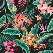 Seamless Floral Pattern With Tropical Leaves And Flowers On Black