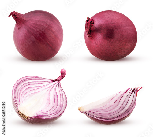 Fotomural  Set red onion, whole, cut in half, slace
