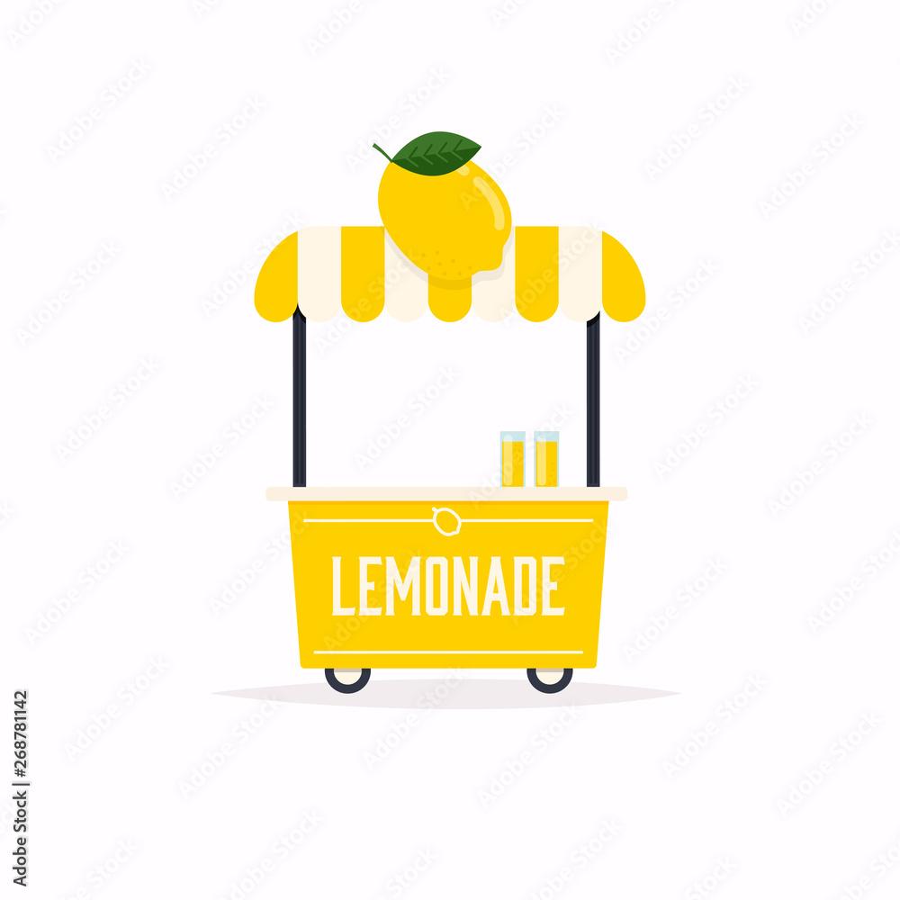 Fototapeta Lemonade stand cart. Street food cart. Vector Illustration.