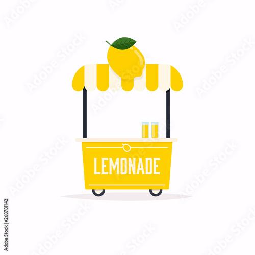 Obraz na plátně  Lemonade stand cart. Street food cart. Vector Illustration.