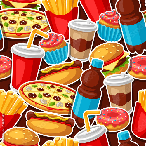 Obraz na płótnie Seamless pattern with fast food meal