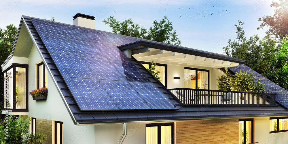 Fototapety, obrazy: Solar panels on the gable roof of a beautiful modern home