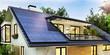 Leinwandbild Motiv Solar panels on the gable roof of a beautiful modern home