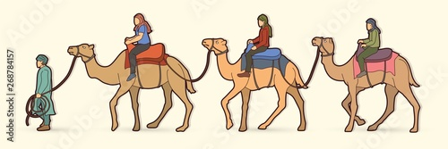 Cameleer with camels cartoon graphic vector Billede på lærred