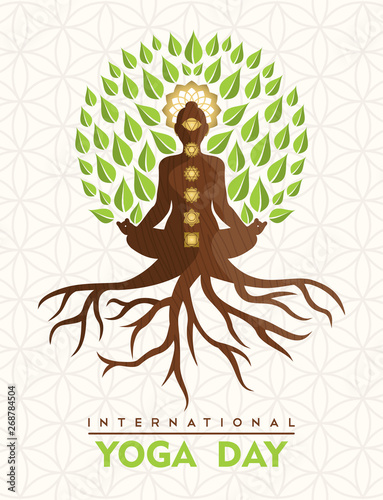 Cuadros en Lienzo  Yoga Day card of buddha tree in lotus pose