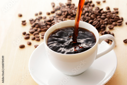 Wall Murals Cafe コーヒー Coffee cup on wooden background