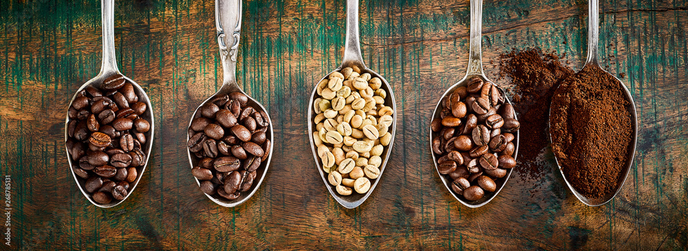 Fototapety, obrazy: Assortment of different coffee in vintage spoons