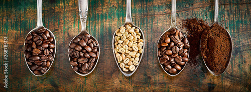 Assortment of different coffee in vintage spoons - 268785131