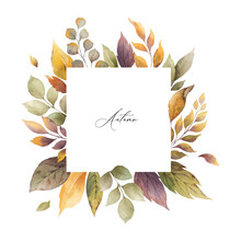 Watercolor Vector Autumn Frame With Roses And Leaves Isolated On White Background.